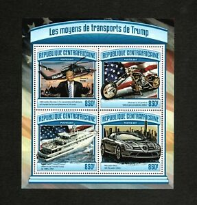 Central Africa 2017 - Donald Trump's Transportation - Sheet of 4 Stamps - MNH
