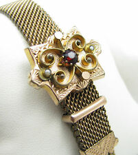 Antique Victorian Gold Filled Mesh Red Stone & Seed Pearl Slide Tassel Bracelet