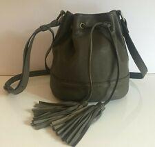 Marks & Spencer Khaki Leather  Drawstring Bucket Bag Handbag  RRP £79