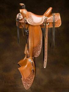 Western Heavy Duty Leather Pleasure Trail Roper Horse Saddle 16 inches All Sizes