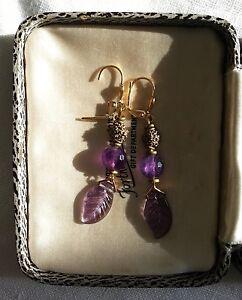 EARRINGS purple amethyst gemstone + glass leaf - vintage African metal beads!