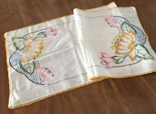 Art Deco Emb Water Lily Design Table Runner Hand 1920-1930's~ 37 x 13 1/2""