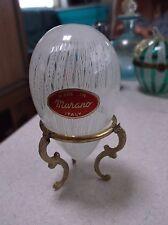 Murano Glass white laticino Egg on stand Venetian