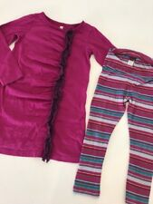 Tea Collection Pink Ruffle dress Striped Cropped leggings set outfit 4 YR