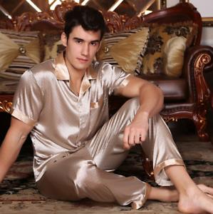 Men Silk Satin Pajamas Pyajamas Set Sleepwear Nightwear Short-Sleeve Long-pants