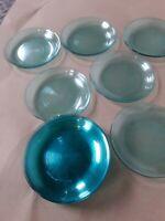 "$3 DOWN Vtg Emerald Green Arcoroc France 7.5"" Ridged Glass Salad Plates Wide Rim"