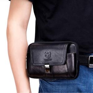 Men's Vintage Genuine Leather Waist Bag Business Phone Belt Bum Zip Pouch New