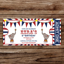 10 *PERSONALISED* party invitations invites CIRCUS TICKET retro TICKET birthday