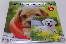 """PUPPIES AND DOGS 2018 CALENDARS 12 MONTH LARGE 12"""" X 11"""" SMALL 6"""" X 6""""  2 PACK"""