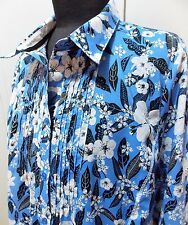 Immaculate Size 14 Regatta French Blue & White Floral Cotton Blouse- 52cm Bust