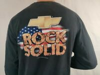 GM Chevy Trucks Black Bowtie T-Shirt Rock Solid American Flag Men's Size XL