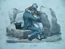 Litho XIXe Langlumé chez Martinet - On vient. Pigal Edme-Jean circa 1833