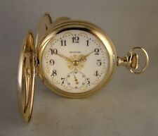 ANTIQUE WALTHAM 17j 10k GOLD FILLED HUNTER CASE FANCY DIAL 16sGREAT POCKET WATCH