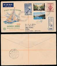 AUSTRALIA 1956 OLYMPIC GAMES SET FDC REGISTERED ILLUSTRATED to ARUBA ANTILLES