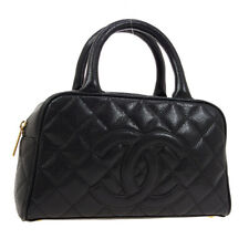 CHANEL Quilted CC Mini Boston Hand Bag 8779819 Purse Black Caviar Skin 02076