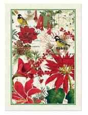 MERRY & BRIGHT Poinsettia Christmas Cotton Kitchen Towel by  Michel Design Works