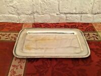 Vintage Rectangular Silver Plate Tray Marked Silver on Copper