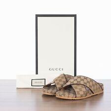 GUCCI 490$ Beige Men's Monogram GG Canvas Slide Sandals
