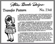 Vintage Alice Brooks Jointed Cloth Doll W Clothes Fabric sewing pattern # 7341