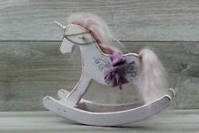 Wood rocking horse unicorn vintage white pink doll toy bjd barbie blythe
