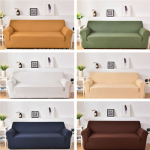 1/2/3/4 Seater Soft Sofa Couch Covers Solid Elastic Stretch Slipcover Protector