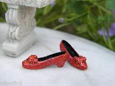 Miniature Dollhouse FAIRY GARDEN ~ Glittery Ruby Red Slippers Shoes ~ NEW