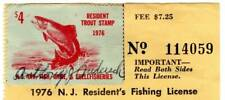 1976 New Jersey Trout Stamp on Full Resident's Fishing License ~ Used