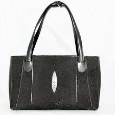 NINA RAYE Black Genuine Stingray Skin Handbag Purse Satchel Shoulder Bag