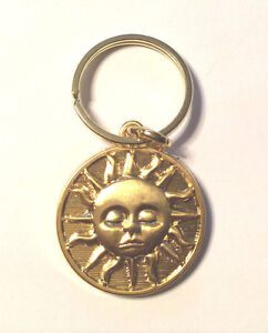 Celestial Sun or Moon Sturdy Brass Plated Key Ring (Gold Sun or Silver Moon) NEW