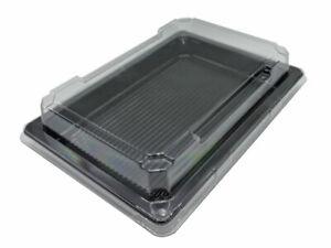 "Sushi-Tray Größe ""L"" 185x129x20mm schwarz+Deckel klar antifog (1x450)(548495)"