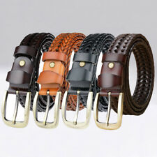 Unisex Braided Belt Woven PU Leather Belt Formal Casual Pin Buckle Waistband NEW