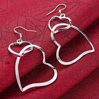 Fashion Women 925 Silver Hear Ear Stud Hoop Dangle Earrings Wedding Jewelry