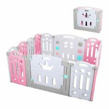 14 Panel Foldable Baby Playpen Kid Safety Fence Play Center Play Yard Pink White