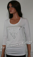 NEW Guess Macaria 3/4 Sleeve Knit Top White Size S