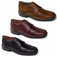 Padders REID Mens Leather Wide Fit Lace Up Smart Office Oxford Brogue Shoes