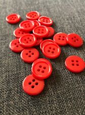 20 X Red 15 mm 4 Hole Plastic Buttons- Australian Supplier