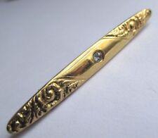 Rare broche bijou vintage barrette couleur or signé AVON cristal diamant 2036