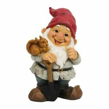 Happy Funny Garden Gnome Ornament and Squirrel Lawn Patio Feature Gift Novelty