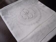 New listing Pr Edwardian Antique White Damask Huck Linen Hand Kitchen Dish Towels Monogram B