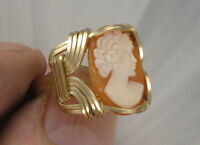 SHELL CAMEO RING IN 14KT ROLLED GOLD SIZE 5 TO 13   WIRE WRAPPED