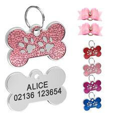 Glitter Personalized Dog ID Tags Custom Bone Shape Pet Name Engraved Collar Tags