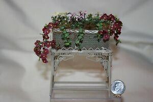 Miniature Dollhouse Victorian Wicker Plant Stand w Artisan Flowers 1:12 NR