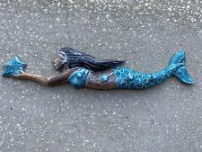 COAT RACK MERMAID SWIMMING WITH STAR FISH WOOD HANGING WALL ART PLAQUE