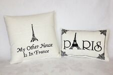 """Pillow Set - """"Paris"""" - Embroidered Accent Pillow & """"My Other House is in France"""""""