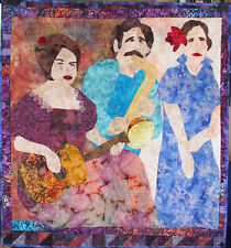 "Kathleen Campau Handmade Art Quilt Hanging 51"" x 47"" Flamenco Trio, Signed 2003"