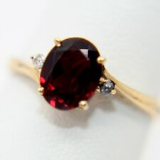 14k Yellow Gold Red Stone Ring w/ Diamond Accents 2.3g Size 8.75 (24898)
