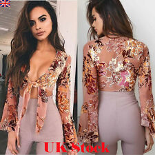 Fashion Women Summer Slim Casual V Neck Shirt Crop Tops Blouse Ladies Party Top