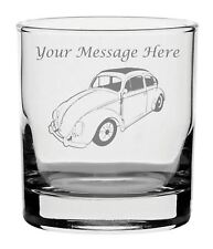 Personalised Engraved Whisky Glass With Volkswagen Beetle Design