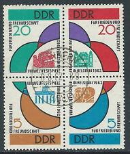 1962 GERMANIA DDR USATO BLOCCO FESTA DELLA GIOVENTU E STUDENTI A HELSINKI - R48
