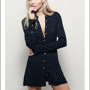 New Womens Free People This Town Polka Dot Shift Dress Sz UK M Black (S1)